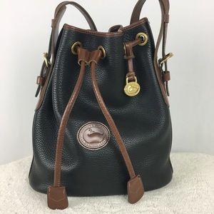 Dooney & Bourke Black/Tan Leather Bucket Bag